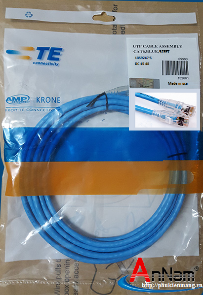 Dây nhảy Patch cord cat6 1.5m(5 feet) AMP/commscope mã 1859247-5