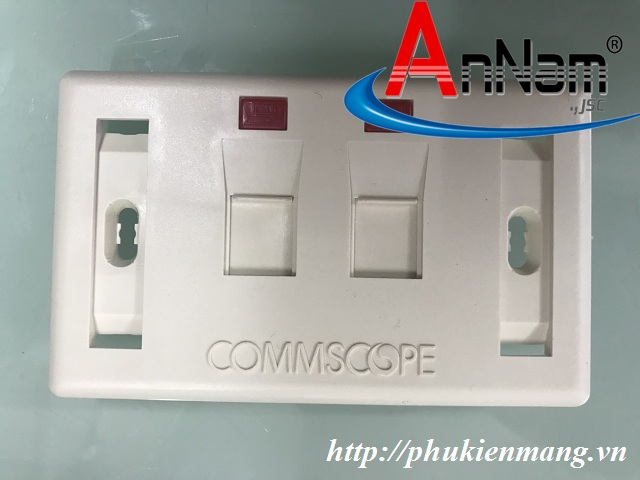 Faceplate, Mặt nạ, outlet ổ cắm chữ nhật Commscope, 2 cổng