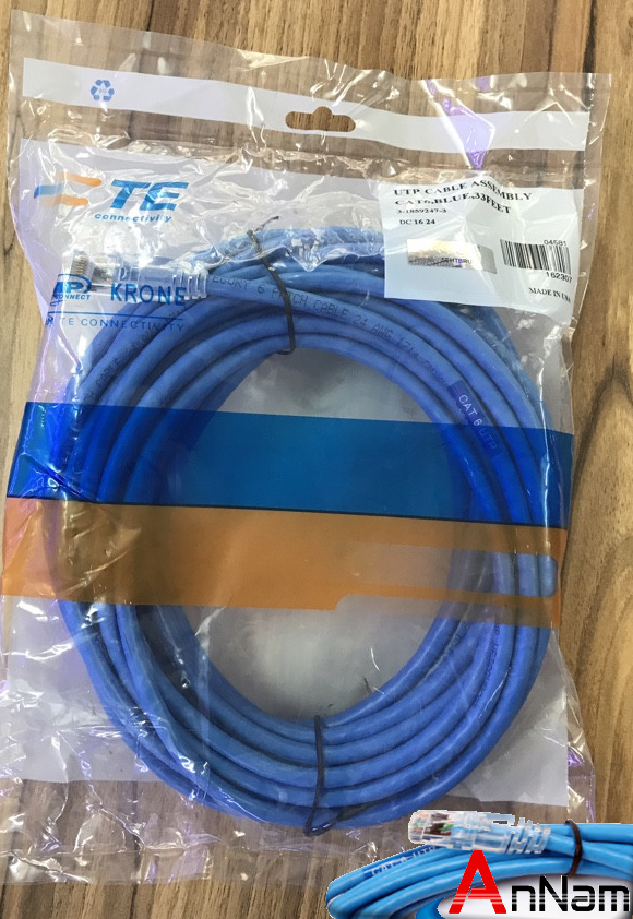 Cat6 Patchcord, SL, Blu, Transparent, 33 Ft P/N: 3-1859247-3. Patch Cord AMP Cat6E Loại 10 Mét