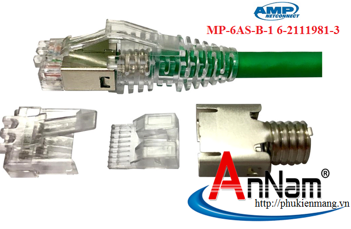 Hạt Mạng AMP MP-6AS-B-1 6-2111981-3 Modular Plug, Category 6, Shielded Chính Hãng