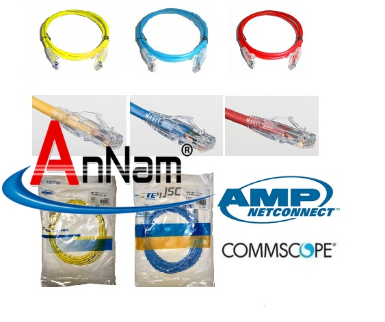 Cáp nhảy UTP Cat6 cat5 AMP/commscope red, blu, yellow